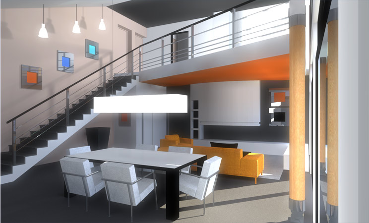 Model interieur maison moderne for Plan de loft moderne